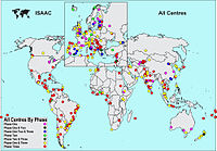 Global distribution of centres taking part in the ISAAC study.