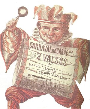 Venezuelan waltz - Illustration of the 19th century, that invites to the Caracas carnival, and a waltz competition