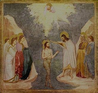 Christian naturism - Baptism of Jesus, Bordone, Giotto 1276-1336