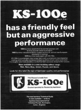 Karrimor - 1970s advert for Karrimor's new fabric, KS-100e