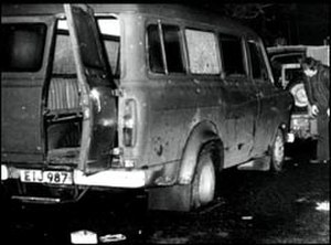 Kingsmill massacre - The bullet-riddled minibus which had been transporting the 11 Protestant workers who were gunned down as they lined up alongside the vehicle