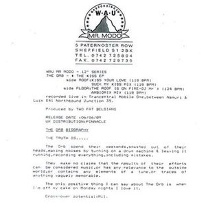 "Kiss (The Orb EP) - Notes from the reverse of the Kiss EP, proclaiming ""Cross-over potential: nil""."