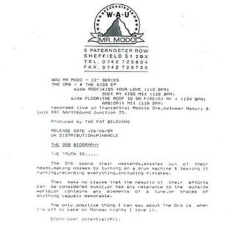 """Kiss (The Orb EP) - Notes from the reverse of the Kiss EP, proclaiming """"Cross-over potential: nil""""."""