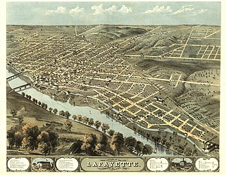 Lafayette, Indiana - This panoramic map illustrates a bird's-eye view of Lafayette, Indiana, in 1868.