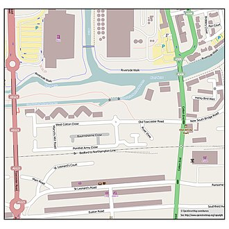 Cotton End, Northampton - Image: Map of Cotton End Northampton, England, January 2014