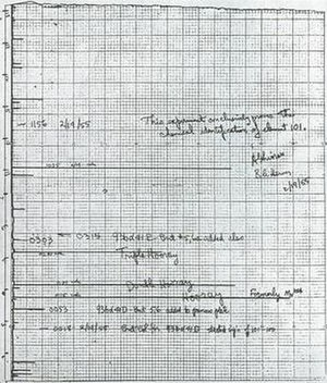 Mendelevium - The data sheet, showing stylus tracing and notes, that proved the discovery of mendelevium.