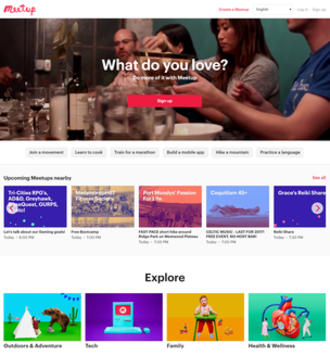 Meetup (website) - Image: Meetup website screenshot