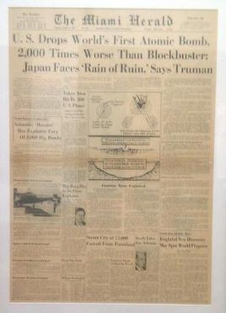 Miami Herald - A Miami Herald headline dated August 7, 1945 featuring the atomic bombing of Hiroshima, Japan