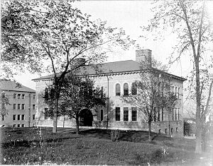 Crane Theological School - Paige hall (at left) and Miner Hall prior to construction of the Crane Chapel and arcade between the two buildings