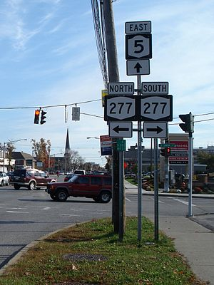 New York State Route 5 - EB NY 5 at its junction with NY 277 near Williamsville.
