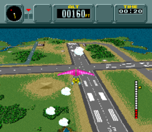 The screenshot shows a pink hang glider in flight above an airstrip compound at sea. A dotted ring and a rising air thermal are visible in the background. The player's radar, altitude, and time are visible at the top of the image.