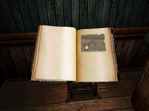 Myst (series) - A linking book as seen in realMyst. By touching the animated panel, players are warped to the Age described.