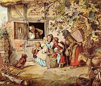"History of German women - ""My nest is the best"" by Adrian Ludwig Richter, 1869, a Romantic image of the emerging inner-directed nuclear family."