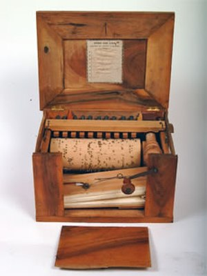 """Serinette - A serinette made after 1877 by Thibouville-Lamy in Mirecourt, France. Among the pieces this instrument plays is """"Cloches de Corneville."""""""
