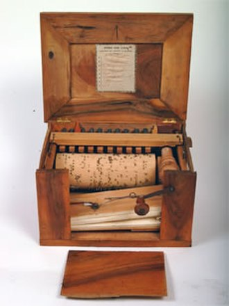 "Serinette - A serinette made after 1877 by Thibouville-Lamy in Mirecourt, France. Among the pieces this instrument plays is ""Cloches de Corneville."""