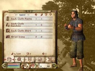The Elder Scrolls IV: Oblivion - Image: Standard inventory interface, Oblivion 2006 12 27