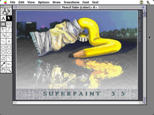SuperPaint with one window open displaying artwork of a tube of with yellow paint squeezed out of it, where the paint is morphing into the shape of a pencil.
