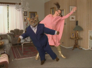 """Triumph of a Heart - Björk and her husband, played by a cat, in the music video for """"Triumph of a Heart"""""""