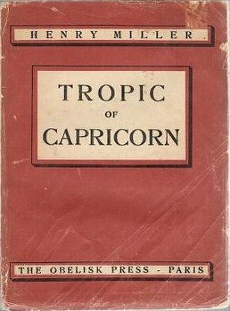 Tropic of Capricorn (novel) - First edition cover, Paris, 1939