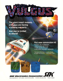North American arcade flyer of Vulgus.