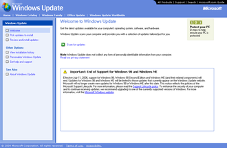 Windows Update - Windows Update v4 in Windows Me.