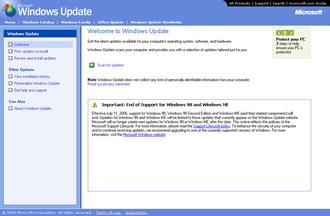 Windows Update - Windows Update v4 in Windows Me.