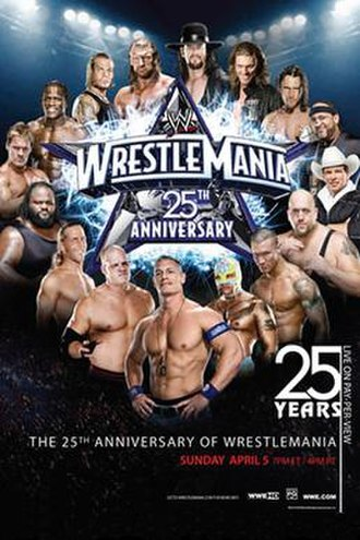 WrestleMania XXV - Promotional poster featuring various WWE wrestlers