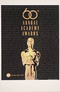 60th Academy Awards Award ceremony presented by the Academy of Motion Picture Arts & Sciences for achievement in filmmaking in 1987