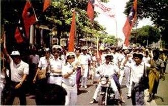 8888 Uprising - Burmese Navy personnel demonstrating