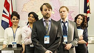 Ambassadors (TV series) - Cast of Ambassadors (left to right)  Shivani Ghai, Amara Karan, David Mitchell, Robert Webb, Susan Lynch