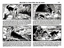 A typical page in a Black Bob story; four drawings by Jack Prout, with a paragraph of text below each one