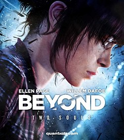 The game's cover art; A close-up of Jodie's face with her eyes closed is seen in profile.