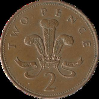 Two pence (British decimal coin) - Original reverse: 1971–2008