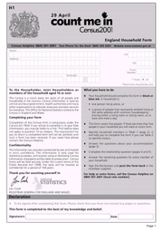 Form used to poll English households during the 2001 Census.
