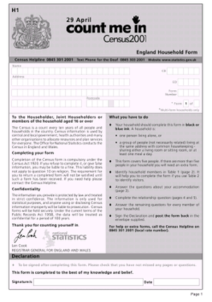 United Kingdom Census 2001 - Form used to poll English households during the 2001 Census.