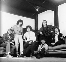 The 1976-1978 line-up of Little River Band (rear, left to right): Graeham Goble, Beeb Birtles, George McArdle, Glenn Shorrock and David Briggs; (front): Derek Pellicci