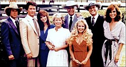 The original cast of Dallas. Clockwise from top right are: Larry Hagman (in cowboy hat), Linda Gray, Jim Davis, Charlene Tilton, Victoria Principal, Patrick Duffy, and Barbara Bel Geddes.