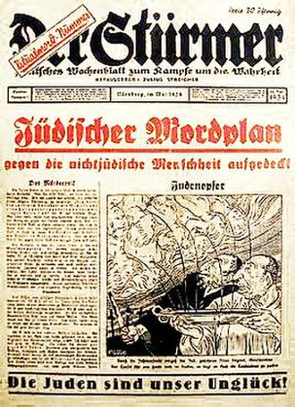 Der Stürmer - 1934 Stürmer special issue, image shows Jews extracting blood from Christian children for use in religious rituals (an example of the blood libel against Jews)