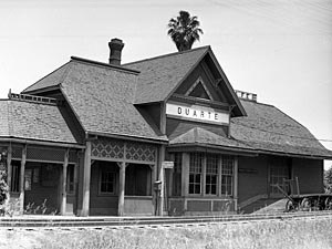California Central Railway - The Duarte train depot built by the California Central Railway in 1897 and sold to Santa Fe in 1907.