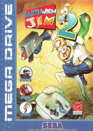 "Earthworm Jim (series) - The main protagonist, Earthworm Jim, on the right, in his super suit, with sidekick ""Snott"" coming out of his backpack. Pictures on the left include Psy-Crow, the series main antagonist, and Princess What's Her Name, who Jim commonly has to save."