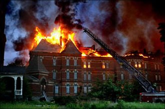 Hudson River State Hospital - May 2007 fire at the Main Building