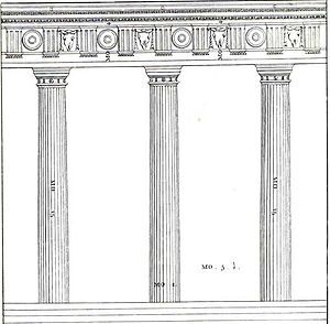 Intercolumniation - Illustration from The Four Books of Architecture by Andrea Palladio, translation by Thomas Ware published in London, 1738