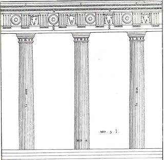 Intercolumniation spacing between columns in a colonnade