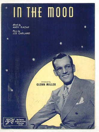 "In the Mood - 1939 sheet music cover, ""Introduced by Glenn Miller"", Shapiro, Bernstein, and Co., New York."