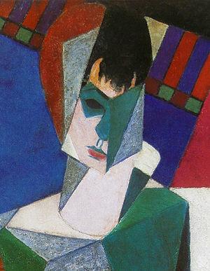 Femme au miroir - Jean Metzinger, 1916, Femme au miroir (Lady at her Dressing Table), detail