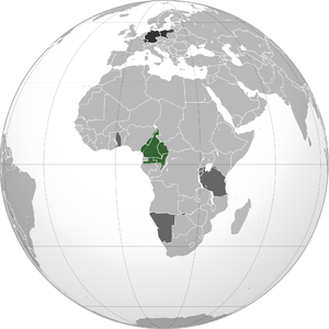 Kamerun - Historical German territory projected onto modern-day globe. Green: Territory comprising German colony of Kamerun. Dark grey: Other German territories. Darkest grey: German Empire.
