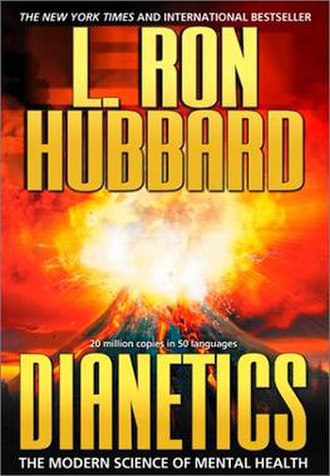 Dianetics: The Modern Science of Mental Health - Current edition cover, featuring Xenu's volcano bombs
