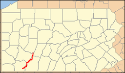 Location of Laurel Ridge State Park in Pennsylvania