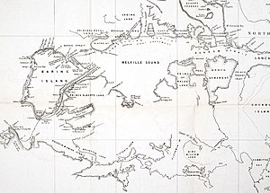 McClure Arctic Expedition - Map drawn by Robert McClure detailing the Northwest Passage, including the 1851 route of the Investigator.