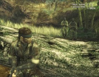 "Metal Gear Solid 3: Snake Eater - Snake uses camouflage to remain undetected. The ""camo index"" can be seen in the top, right-hand corner."